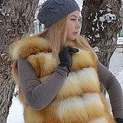 Одежда handmade. Livemaster - original item Vest fur Siberian red Fox. Transverse layout. Handmade.
