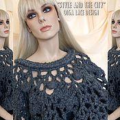 Одежда ручной работы. Ярмарка Мастеров - ручная работа Кружевной пуловер - пончо от Olga Lace. Handmade.