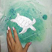 Футболки ручной работы. Ярмарка Мастеров - ручная работа Футболки: морская жизнь. Handmade.