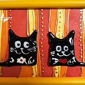 """коллаж """"Влюбленные коты"""", картина на стену"""