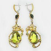 Украшения handmade. Livemaster - original item 925 sterling silver earrings with natural lemon quartz tourmaline and sapphire. Handmade.