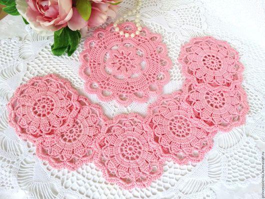 """Текстиль, ковры ручной работы. Ярмарка Мастеров - ручная работа. Купить """"Розовая нежность"""" Набор салфеток для чашек и чайника, крючком. Handmade."""