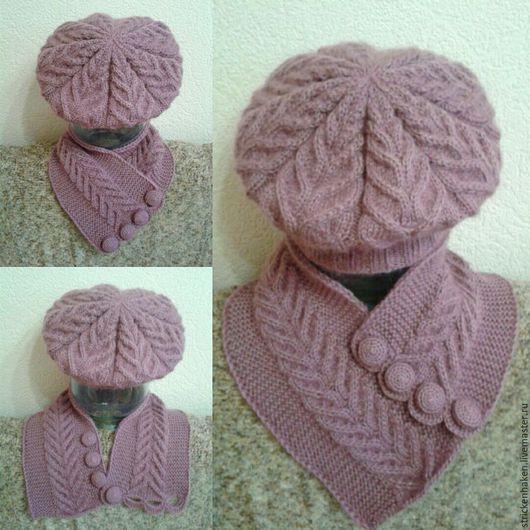 """Комплекты аксессуаров ручной работы. Ярмарка Мастеров - ручная работа. Купить Комплект """"Роза"""", берет вязаный, шарф вязаный, комплект ручной работы. Handmade."""