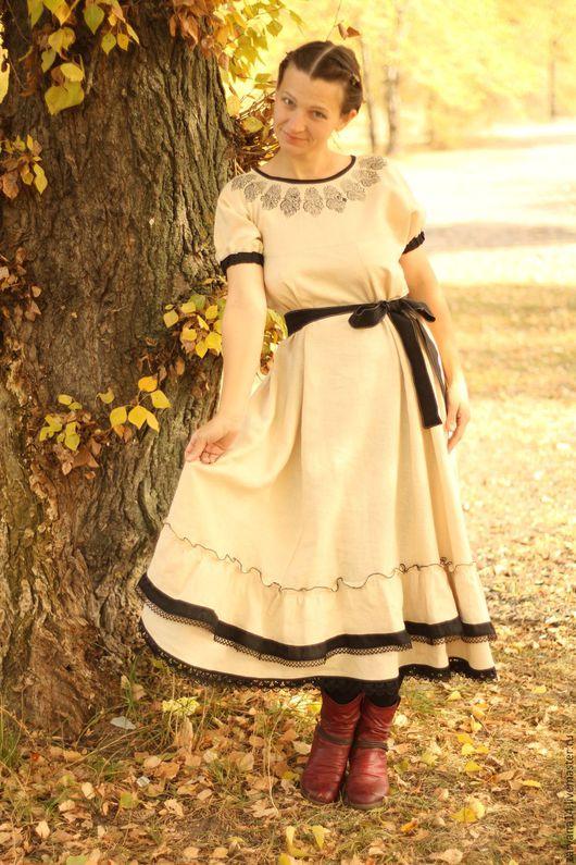 """Платья ручной работы. Ярмарка Мастеров - ручная работа. Купить Платье """"Набойка по бежевому"""". Handmade. Бежевый, длинное платье"""
