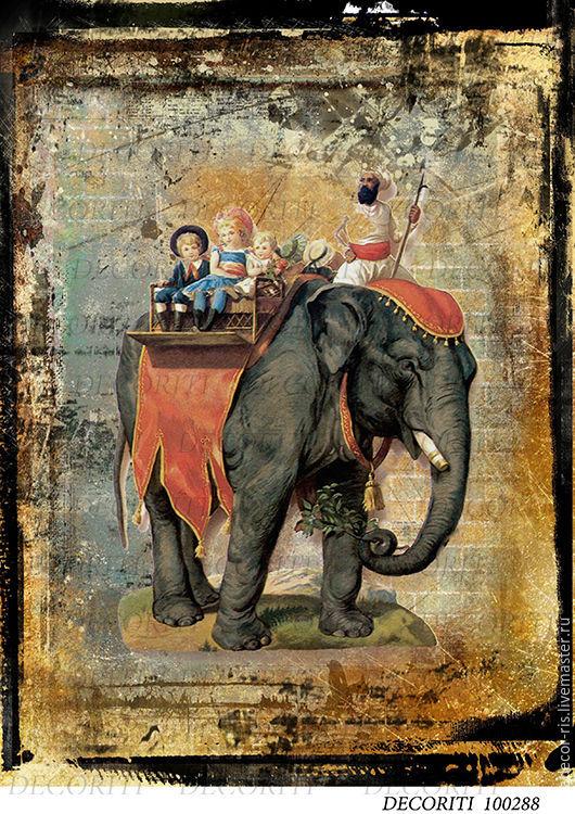 Декупаж и роспись ручной работы. Ярмарка Мастеров - ручная работа. Купить Ретро - слон (D100288) - рисовая бумага, А4. Handmade.