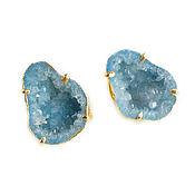 Украшения handmade. Livemaster - original item Blue earrings with Quartz, Large earrings pusety quartz Druse. Handmade.