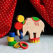 """Куклы и игрушки ручной работы. Ярмарка Мастеров - ручная работа Набор балансир из дерева """"Цирковой слон"""". Handmade."""