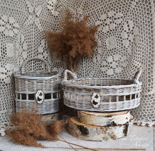 """Кухня ручной работы. Ярмарка Мастеров - ручная работа. Купить Плетеный поднос и корзиночка """"Butterfly"""". Handmade. Бежевый, для кухни, винтаж"""