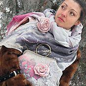 """Аксессуары ручной работы. Ярмарка Мастеров - ручная работа Комплект валяный """"Розы в серебре"""". Handmade."""