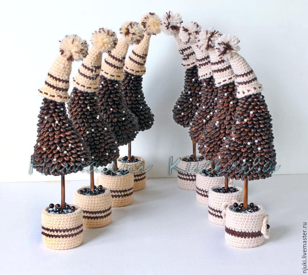 елочки в шапочках Кофейный Аромат, елки новогодние рождественские купить