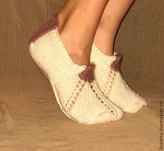 Носки, Чулки ручной работы. Ярмарка Мастеров - ручная работа. Купить Следочки. Handmade. Белый, носки вязаные