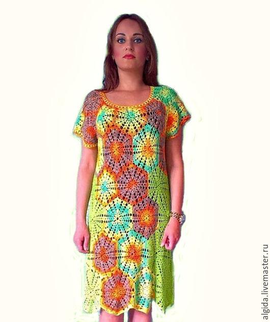 Платье из отдельных элементов крючком.