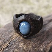 Украшения handmade. Livemaster - original item Wooden ring with green jade. Handmade.