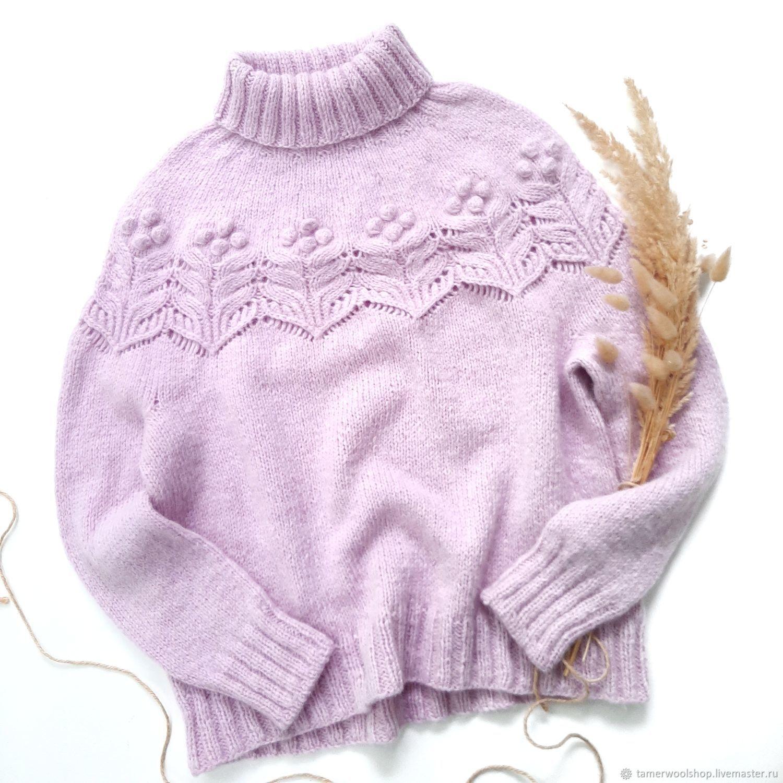 Вязаный женский розовый свитер, ажурный розовый свитер Альпака, Свитеры, Москва,  Фото №1