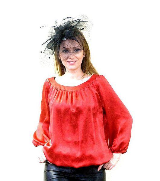 """Блузки ручной работы. Ярмарка Мастеров - ручная работа. Купить Блуза """"Алая"""". Handmade. Ярко-красный, блузка из шелка, блузка"""