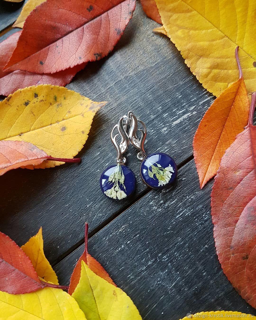 blue earrings with flowers, Earrings, Kazan,  Фото №1