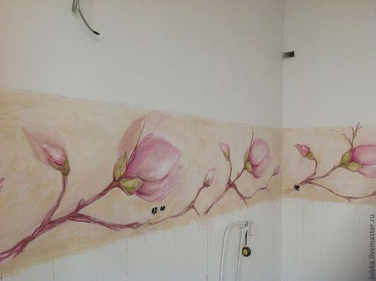 Декор поверхностей ручной работы. Ярмарка Мастеров - ручная работа. Купить роспись кухонного фартука. Handmade. Роспись стен, магнолии