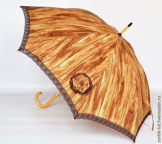 """Зонты ручной работы. Ярмарка Мастеров - ручная работа. Купить Зонт """"Лесной домик"""". Handmade. Коричневый, защита, хлопковый, купить"""