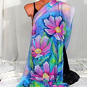 Аксессуары handmade. Livemaster - original item Silk scarf batik Spring. Handmade.