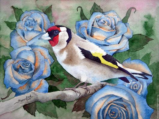 Животные ручной работы. Ярмарка Мастеров - ручная работа. Купить Акварель Щегол и синие розы. Handmade. Комбинированный, акварель, щегол