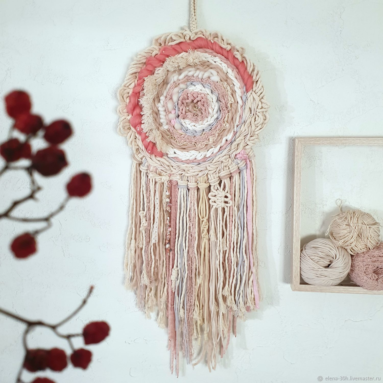 Pink and white woven dream catcher   woven pink and white dream catcher, Tapestry, Yaroslavl,  Фото №1