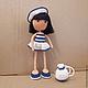 Человечки ручной работы. Ярмарка Мастеров - ручная работа. Купить Кукла Морячка вязаная. Handmade. Тёмно-синий, море, рюкзачок