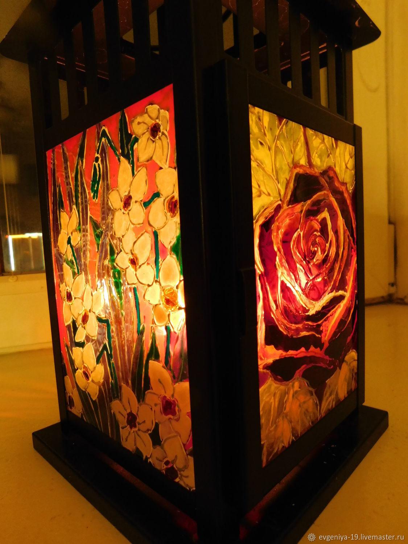 """Подсвечники ручной работы. Ярмарка Мастеров - ручная работа. Купить Витражный фонарик """"Сияние цветов"""". Handmade. Цветы, витражный светильник"""