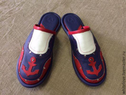 """Обувь ручной работы. Ярмарка Мастеров - ручная работа. Купить Кожаные тапочки """" Navigator""""- red. Handmade. Комбинированный"""