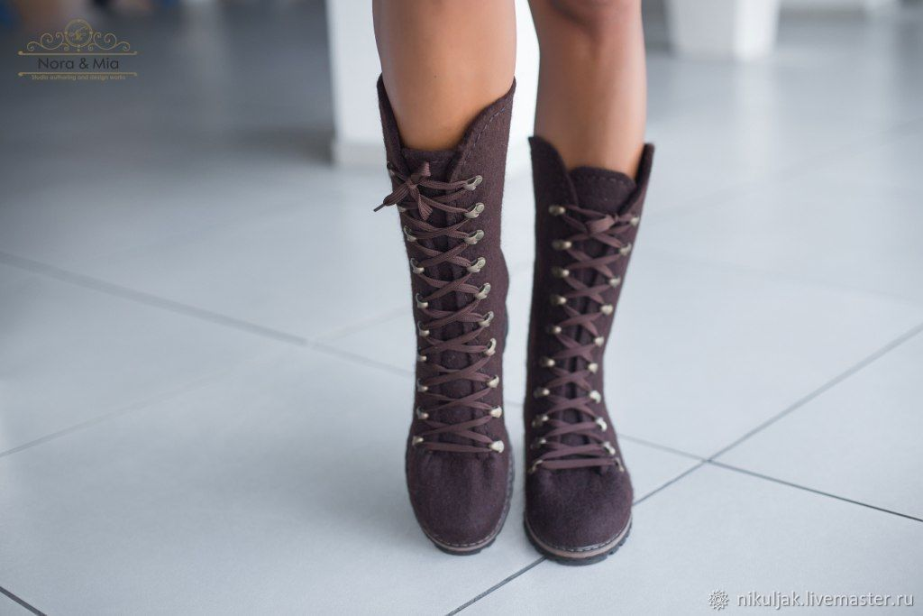 Boots women's felted Mocha, High Boots, Dnepropetrovsk,  Фото №1