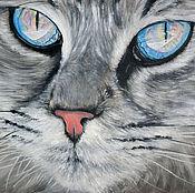 Картины и панно ручной работы. Ярмарка Мастеров - ручная работа Лазурное сияние кошачьих глаз (24 х 30 см). Handmade.