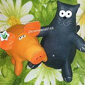 Куклы и игрушки handmade. Livemaster - original item A fat cat and a pig Made of fleece. Handmade.