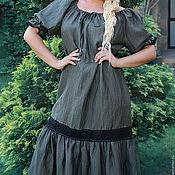 Одежда ручной работы. Ярмарка Мастеров - ручная работа Платье летнее длинное лен. Нарядное платье «Грация». Handmade.