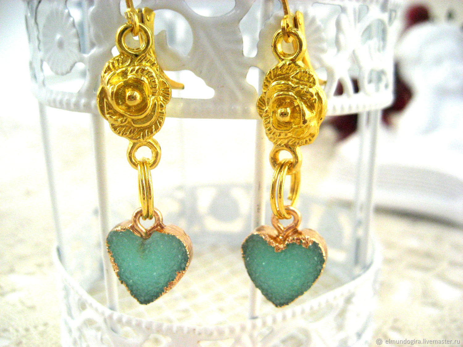 Heart earrings gilded with agate and bright roses, Earrings, Moscow,  Фото №1