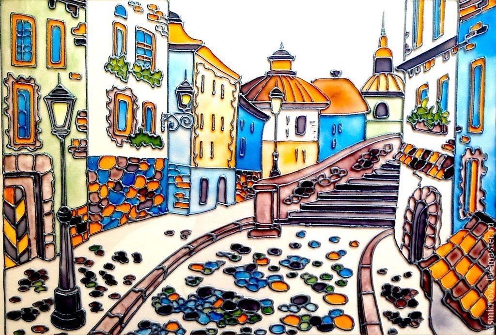 Рисунки городов на стекле
