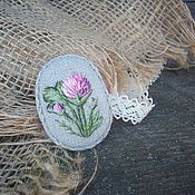 handmade. Livemaster - original item Meadow clover Linen brooch with hand embroidery. Handmade.