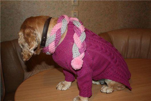 Одежда для собак, ручной работы. Ярмарка Мастеров - ручная работа. Купить Платье для собачки сиреневое. Handmade. Брусничный, свитер, для собаки