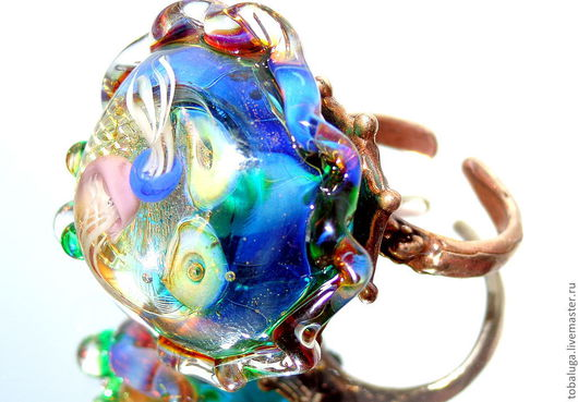 Кольца ручной работы. Ярмарка Мастеров - ручная работа. Купить Кольцо Игры медуз.. Handmade. Кольцо, лампворк, разноцветный