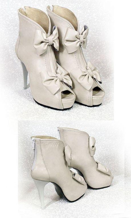 Обувь ручной работы. Ярмарка Мастеров - ручная работа. Купить Ботильоны. Handmade. Ботильоны, летние босоножки, белый, кожа натуральная