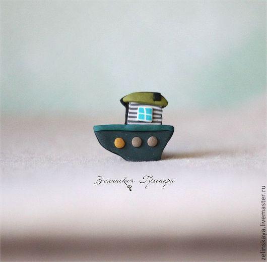 Броши ручной работы. Ярмарка Мастеров - ручная работа. Купить Пароходик. Маленькая брошь. Handmade. Морская волна, плывет, оригинальная