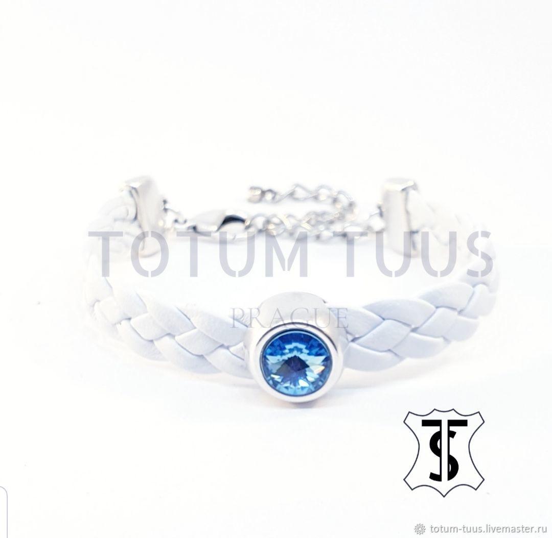 Elegant leather white bracelet Art:18000029, Bead bracelet, Prague,  Фото №1