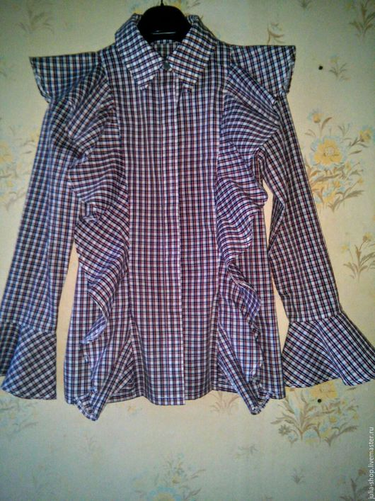 Блузки ручной работы. Ярмарка Мастеров - ручная работа. Купить Женская блузка / рубашка в клеточку.. Handmade. Блузка, рубашка