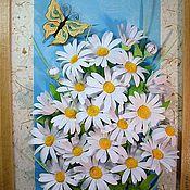 Картины и панно ручной работы. Ярмарка Мастеров - ручная работа Ромашки с бабочкой (квиллинг). Handmade.