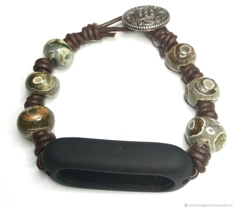 Bracelets: leather bracelet with Dzi beads and a case under myband 2, Watch Straps, Samara,  Фото №1