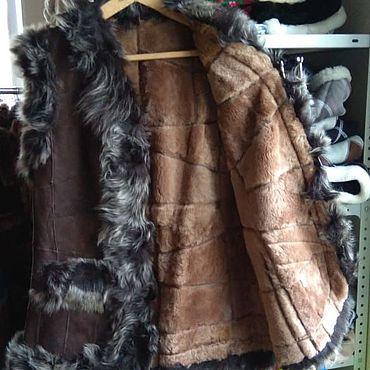 Одежда ручной работы. Ярмарка Мастеров - ручная работа Кожаный меховой жилет 56.Овчина. Handmade.