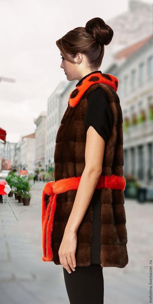 Верхняя одежда ручной работы. Ярмарка Мастеров - ручная работа. Купить Норковый жилет с ярким воротником. Handmade. Комбинированный