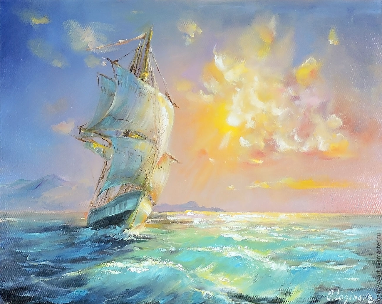 Парусник- картина маслом, картина с морем и парусником, Картины, Находка,  Фото №1