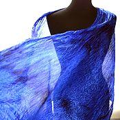 Аксессуары handmade. Livemaster - original item Stole blue crinkled silk women`s. Handmade.