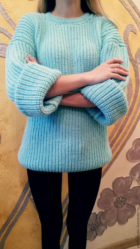 Кофты и свитера ручной работы. Ярмарка Мастеров - ручная работа. Купить Вязаный свитер oversize. Handmade. Мятный, вязаный свитер