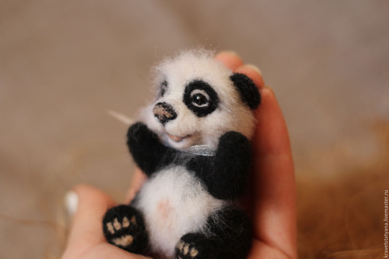 Copyright felt toy Panda bead), Felted Toy, Kuragino,  Фото №1