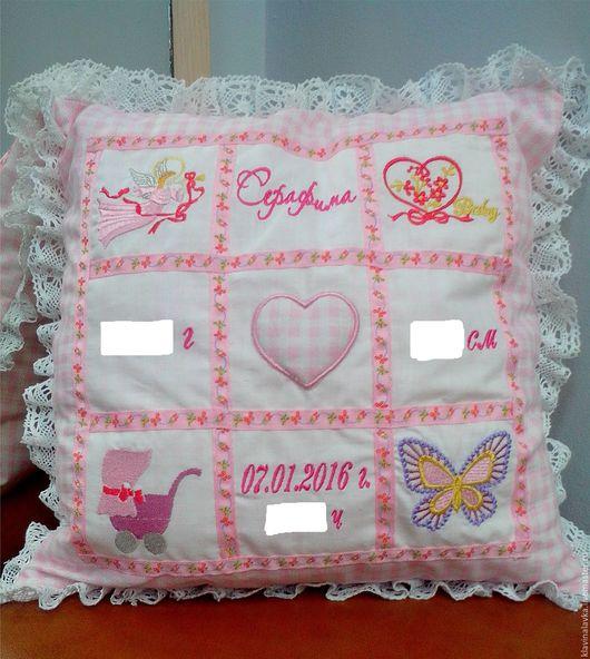 """Текстиль, ковры ручной работы. Ярмарка Мастеров - ручная работа. Купить Подушка с вышивкой """"С новорожденной"""". Handmade. Комбинированный, новорожденному"""
